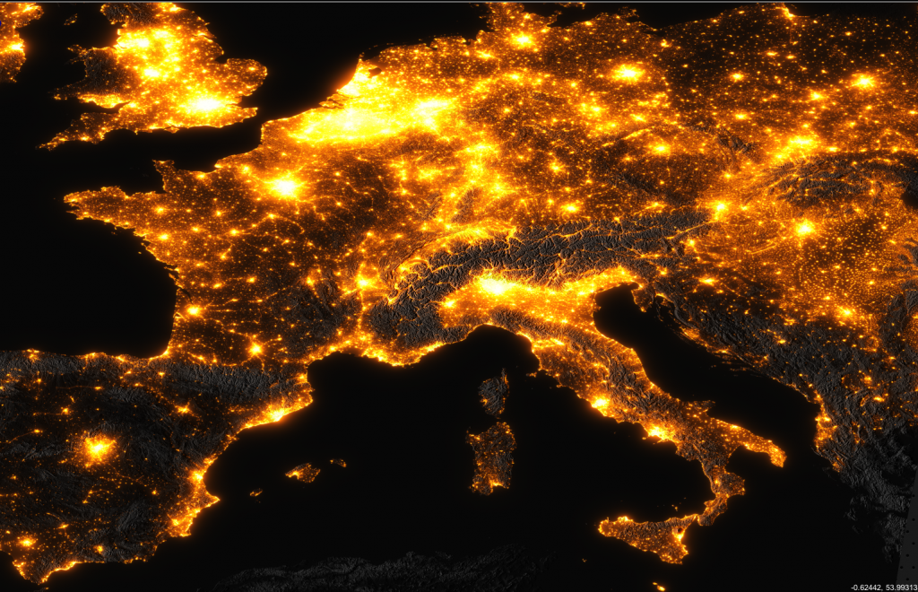 Inquinamento luminoso in Europa